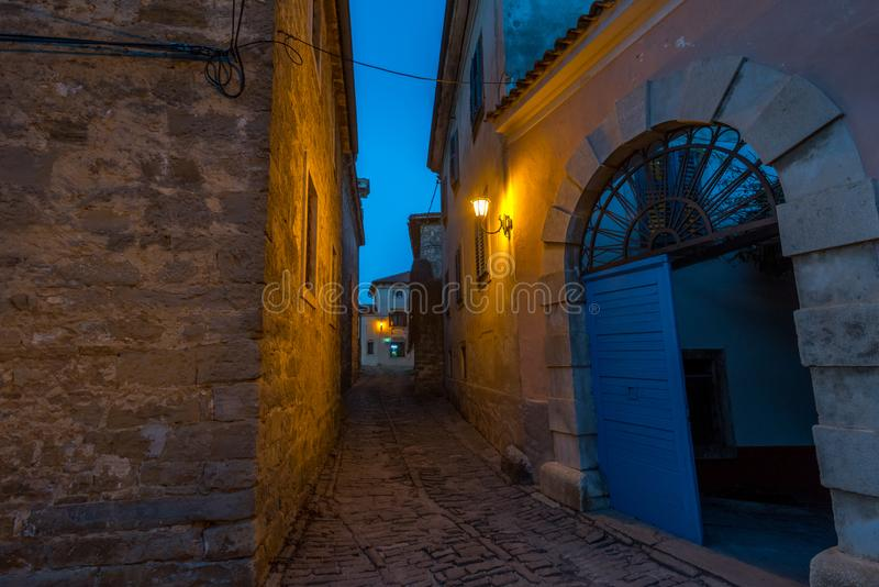 Old Streets of Groznjan. Street of Old Town Groznjan, Istria, Croatia, photographed with my Nikon D750 at Winter afternoon and blue Hour royalty free stock images