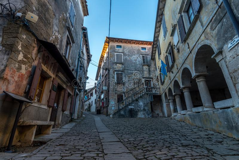 Old Streets of Groznjan at afternoon. Street of Old Town Groznjan, Istria, Croatia, photographed with my Nikon D750 at Winter afternoon and blue Hour royalty free stock photo