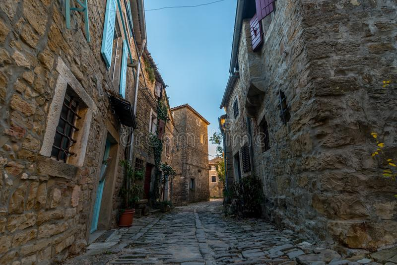 Groznjan, Istria, Croatia, at Winter time. Street of Old Town Groznjan, Istria, Croatia, photographed with my Nikon D750 at Winter afternoon royalty free stock photo