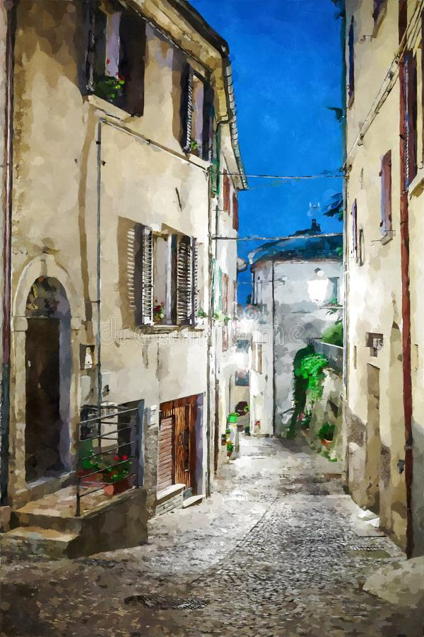 Street in the old town in Italy at night. Digital illustration in watercolor style stock illustration