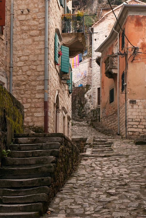 Street in the old town. Kotor. royalty free stock images