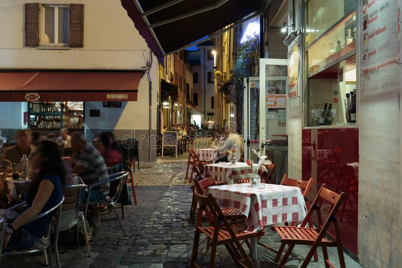 Street in the old town at night in Italy. RIMINI, ITALY - JUNE 27, 2014: Street in the old town at night stock images