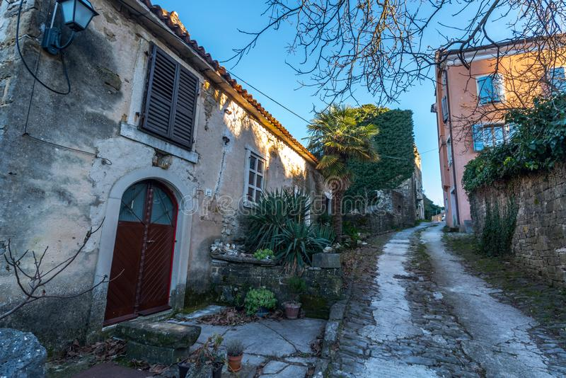 Oprtalj Istria, Croatia. Street of old Town Oprtalj, Istria, Croatia, photographed with my Nikon D750 at Winter afternoon stock photos