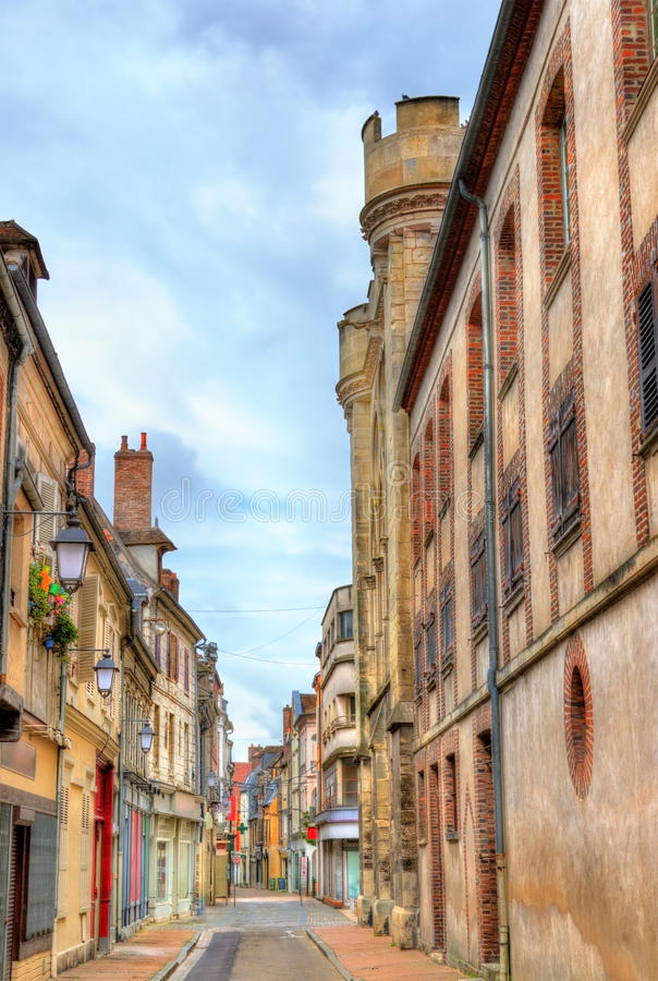Street in the old town of Sens - France. Yonne royalty free stock image