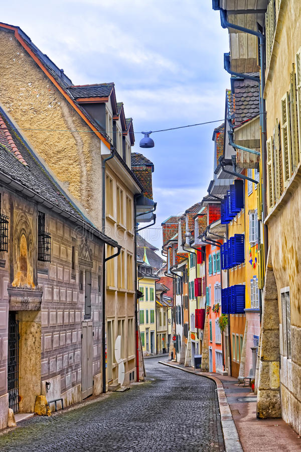 Street in the Old Town of Solothurn stock image