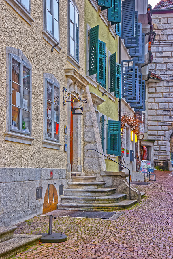 Street in the Old Town in Solothurn royalty free stock photos