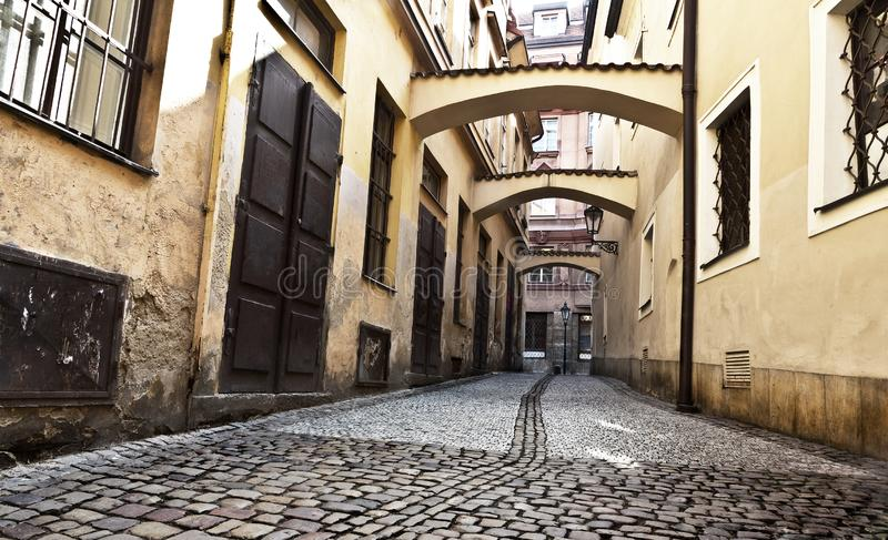 Street at the Old Town Square, Prague, Czech Republic stock images