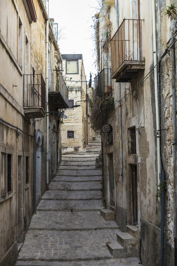 Street of the old town in Ragusa, Sicily, Italy royalty free stock photo