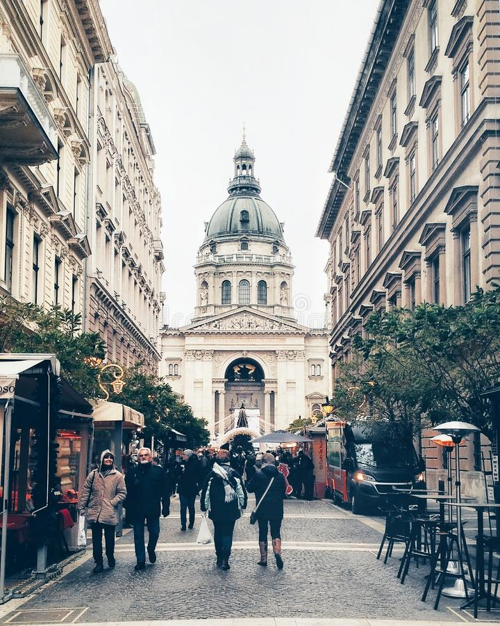 Street oposite to St. Stephen`s Basilica in Budapest. Hungary stock photos