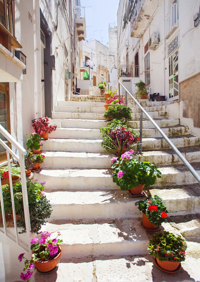 Street in Ostuni, southern Italy royalty free stock images