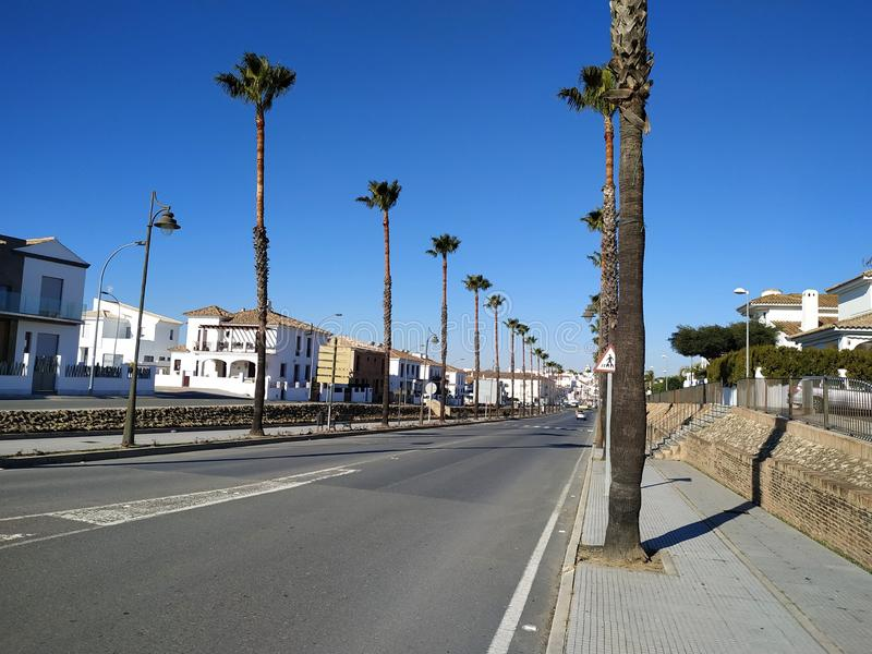 Street with palm trees in Cartaya province of Huelva Spain. Photo taken in 2019 stock photography