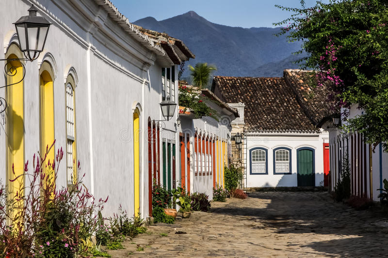 Street in Paraty in Brazil royalty free stock photo