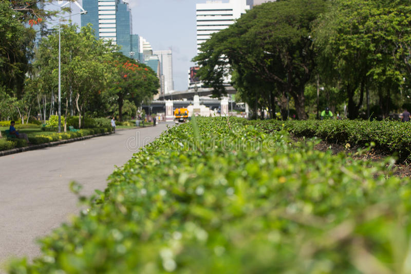 Street in park exit to city. At Bangkok Thailand royalty free stock photography