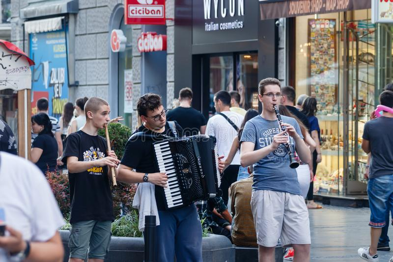 Clarinet, accordion and kaval in a street bend royalty free stock images