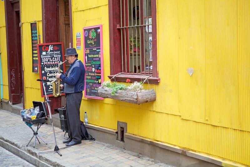 Street performance in Valparaiso, Chile stock photos