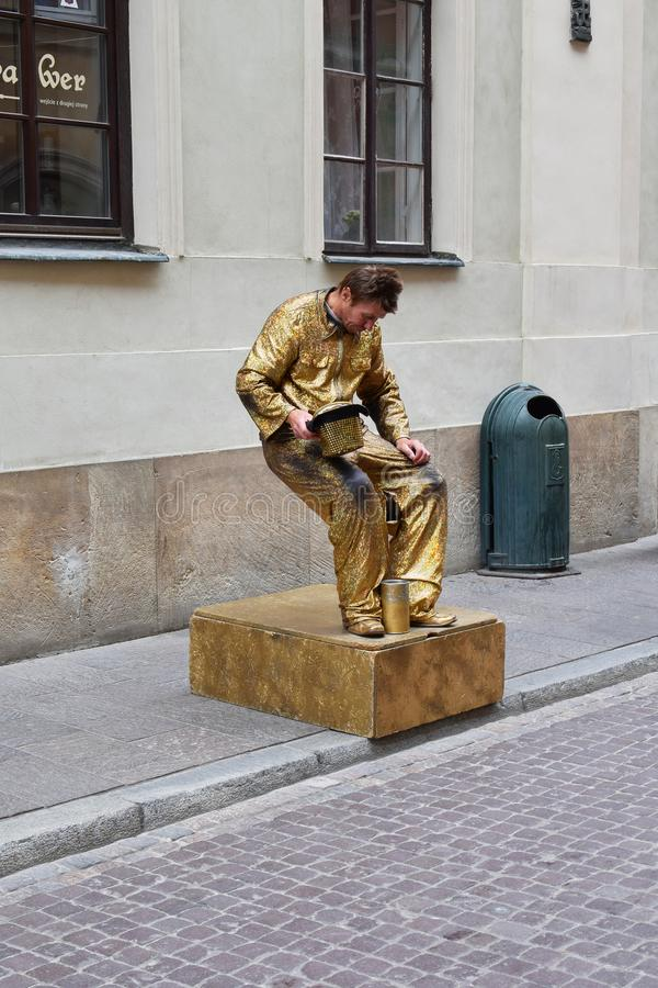 Street performer as statue stock image