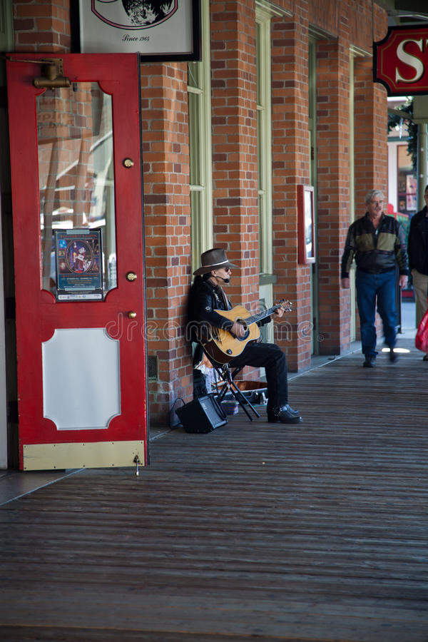 Street performer in Old Sacramento royalty free stock images