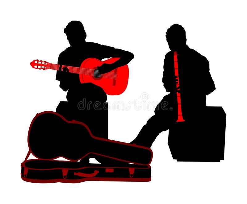 Street performers with guitar and flute, clarinet vector silhouette illustration isolated on white. Guitar player singer, flutist. stock illustration