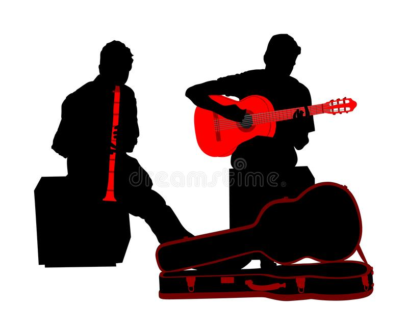 Street performers with guitar and flute, clarinet vector silhouette illustration isolated on white background. Guitar player. And flutist. Musician duet. Music royalty free illustration