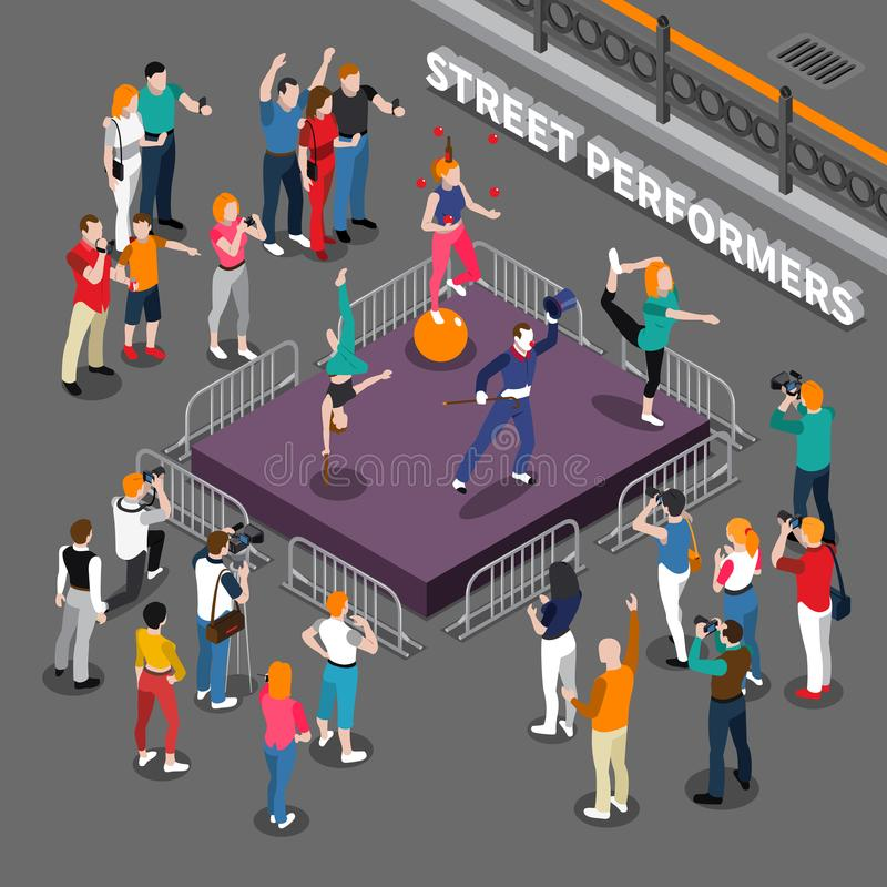 Street Performers Isometric Composition royalty free illustration