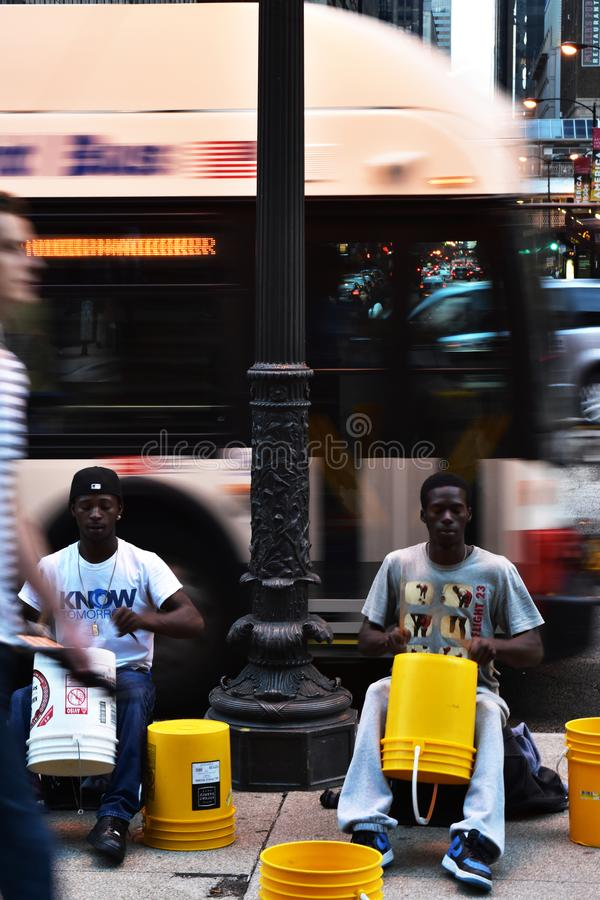 Street performers play drums on Michigan Avenue royalty free stock photos