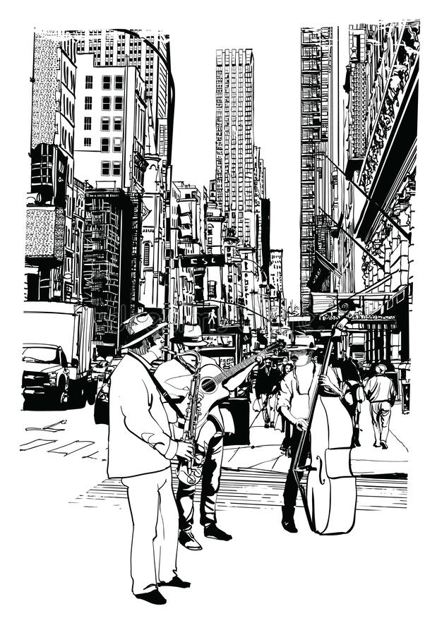 Street performers playing music at 5th Avenue in New York City royalty free illustration