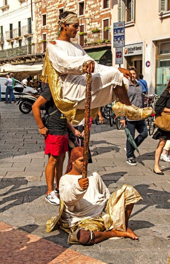 Street Performers in Verona stock photo