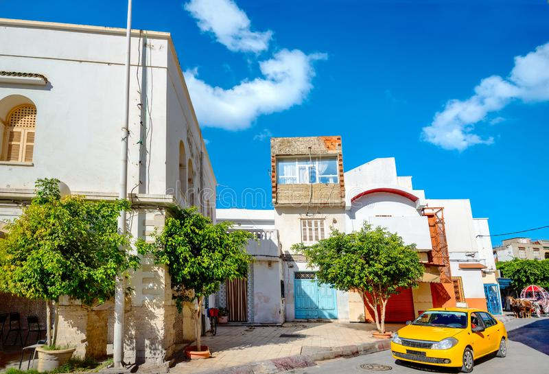Street photo in residential district of Nabeul.Tunisia, North Africa. Cityscape with colorful street in residential district of Nabeul.Tunisia, North Africa royalty free stock image