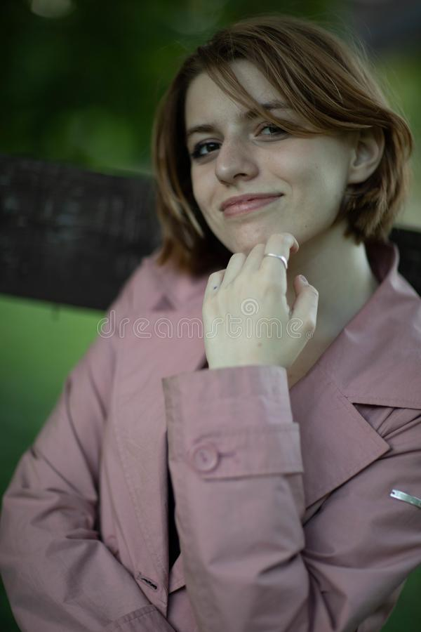 Street photo shoot with a wonderful girl. Photo shoot in Moscow in the great hearth, the whipping Kolomenskoye stock photo