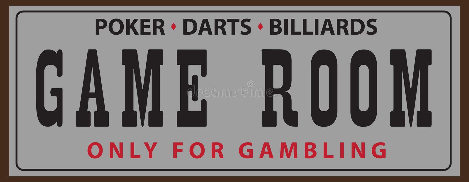 Street Pointer for Game Room. Street pointer for the Game room with billiards, poker and darts royalty free illustration