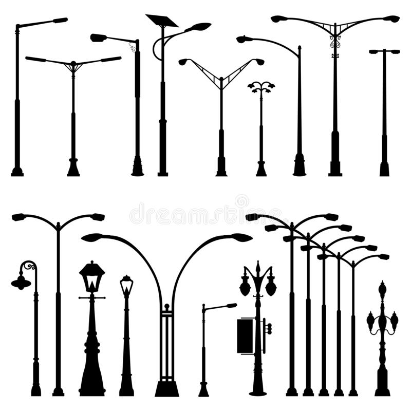 Street Pole Post Lamp Silhouette - Antique Modern and Variations.  vector illustration