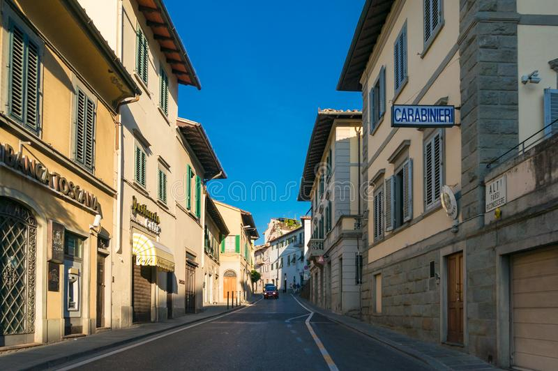 Street with Police department sign. Antonio Gramsci street in Fiesole, Florence. Fiesole, Italy - September 23, 2013: Urban street with Police department sign royalty free stock images