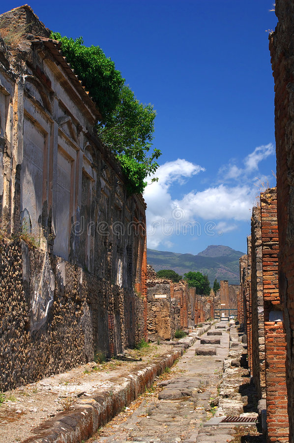 Street of Pompeii. Street of famous ancient roman town Pompeii, Italy royalty free stock photos