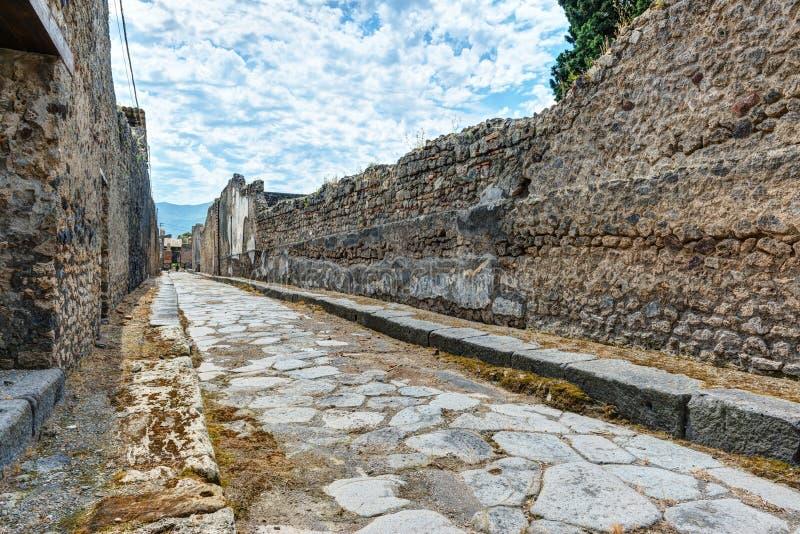 Street in Pompeii, Italy stock images