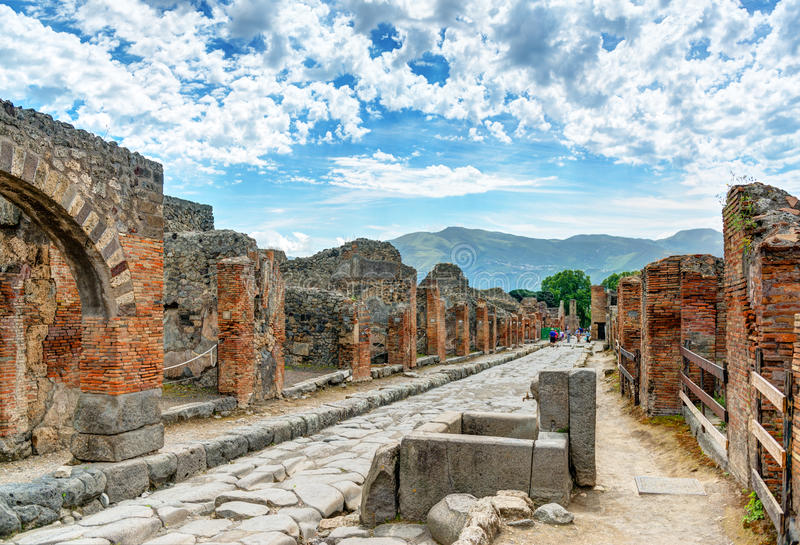 Street in Pompeii, Italy. Pompeii is an ancient Roman city died from the eruption of Mount Vesuvius in the 1st century stock image