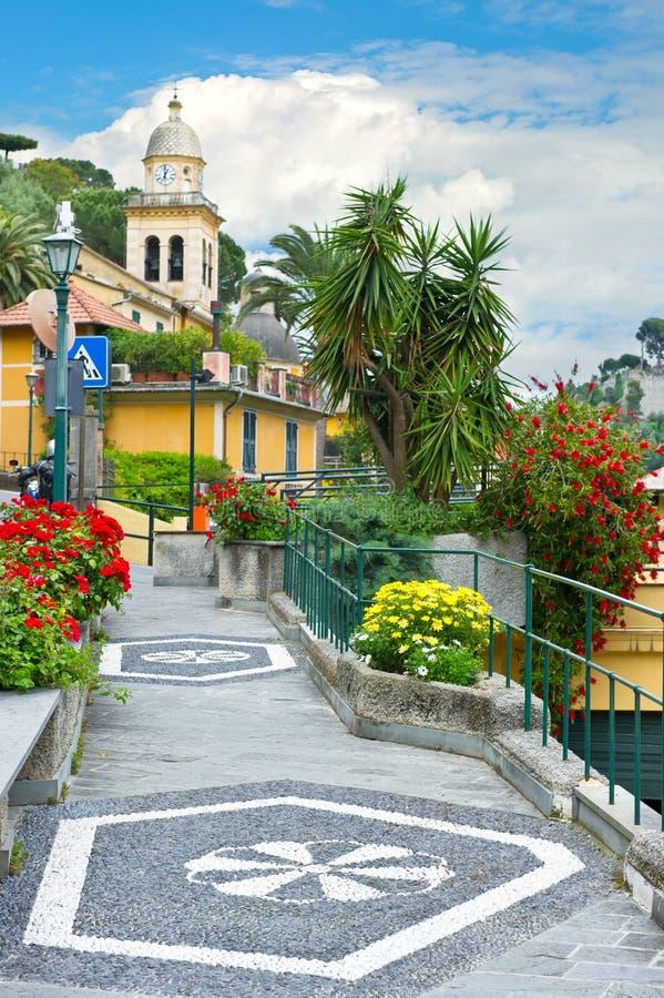 Street in Portofino village royalty free stock photos