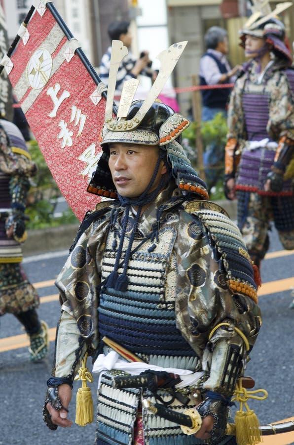 Samurai at the Japanese festival. Street portrait of samurai in traditional feudal costume at 62nd Nagoya Matsuri Festival, Japan stock photo