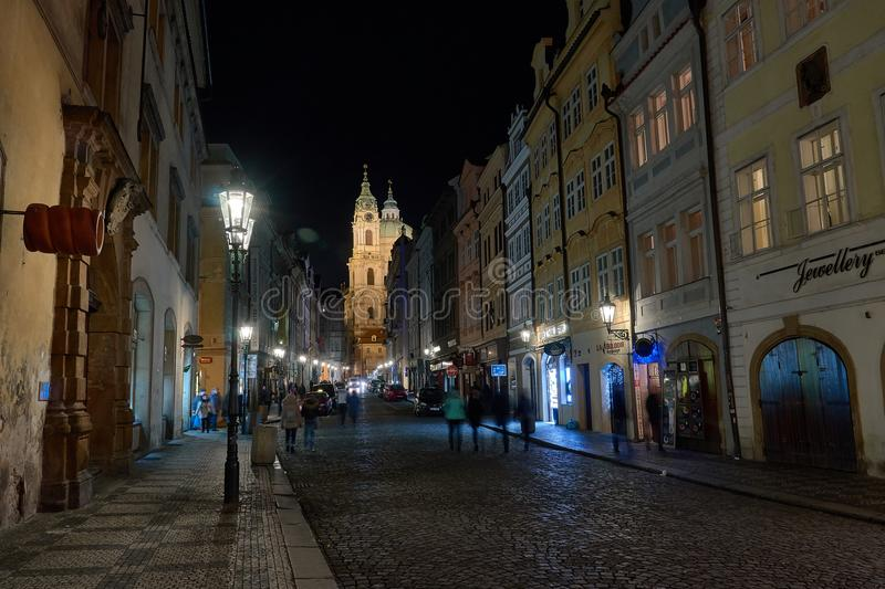 Night in Prag Czech Republic. Street in Prag, Czech Republic, by Night with blue lights royalty free stock photography