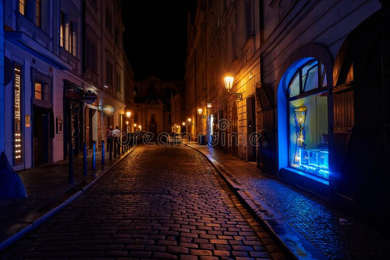 Night in Prag Czech Republic. Street in Prag, Czech Republic, by Night with blue lights royalty free stock photos