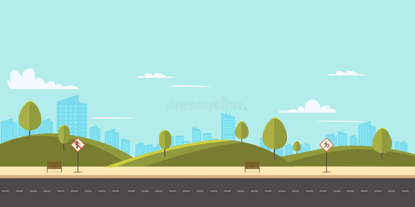 Street in public park with nature landscape and building stock illustration