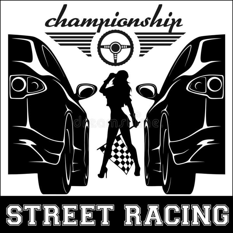 Street Racing. sport girl and sport car. Auto Motor Racing. Street Racing. sport girl and sport car - monochrome vector illustration. Auto Motor Racing royalty free illustration