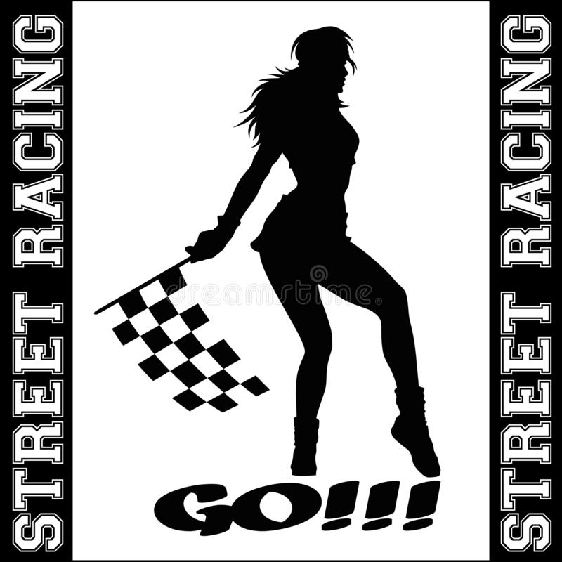 Street Racing. sport girl and sport car. Auto Motor Racing. Street Racing. sport girl and sport car - monochrome vector illustration. Auto Motor Racing stock illustration