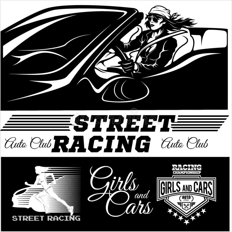 Street Racing. Sport girl with starting the checkered flag. Auto Motor Racing. Vector illustration vector illustration