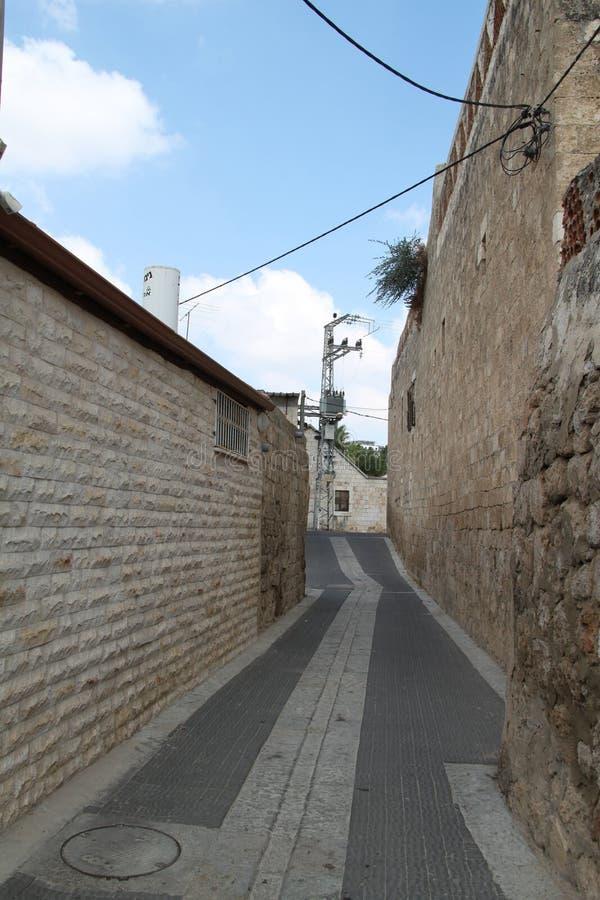 Street in Ramla, Israel. Narrow Street with walls in the old city of Ramla, Israel stock image