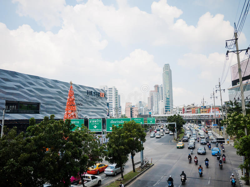 The Street Ratchada. On December 25, 2015 in Bangkok, Thailand. The Street Ratchada is a Center of Bussiness and Market, Among the many skyscrapers stock photo