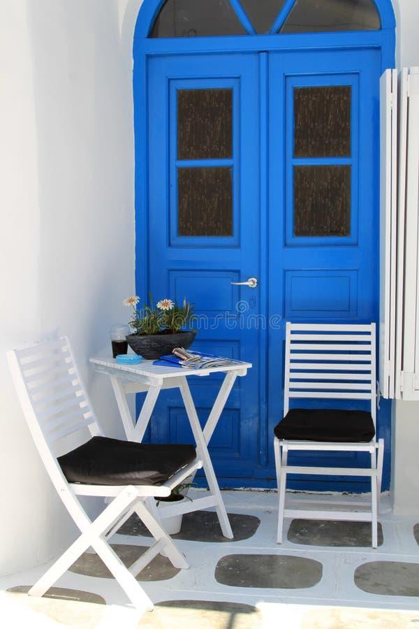 Street Relaxing Corner at Mykonos, Greece stock photography