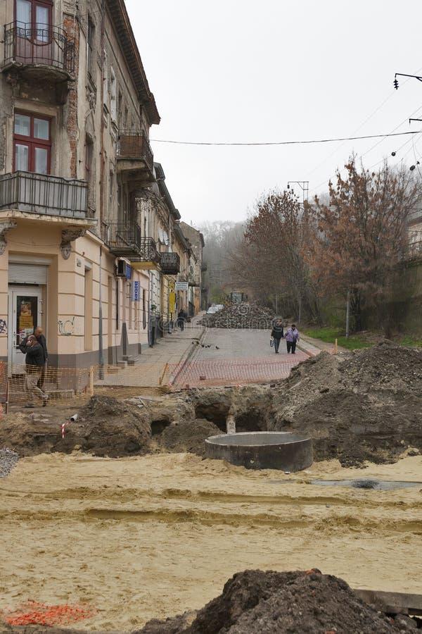 Street repairing in Lviv, Ukraine stock images