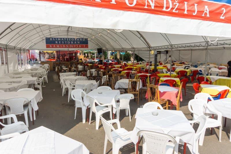 Street restaurant on Roshtilyade Leskovac in Serbia stock images