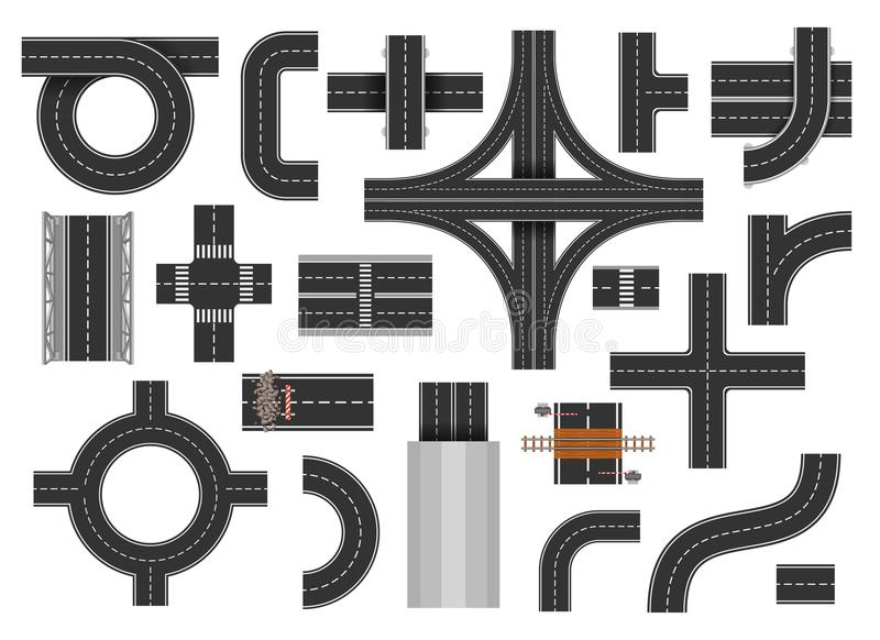 Street road elements stock illustration