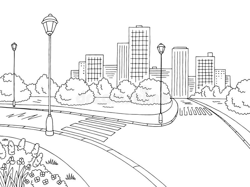 Street road graphic black white city landscape sketch illustration vector. Street road graphic black white city landscape sketch illustration stock illustration